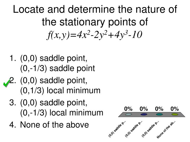 Locate and determine the nature of the stationary points of