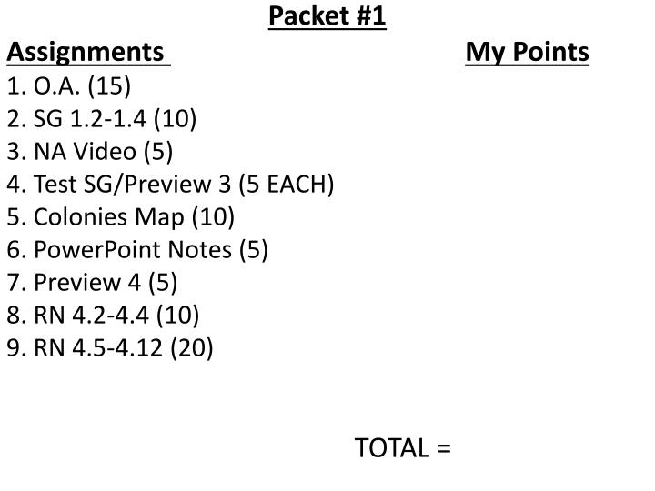 Packet #1