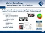 market knowledge planning systems and client seminars