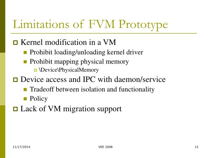 Limitations of FVM Prototype