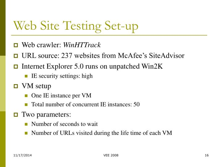 Web Site Testing Set-up