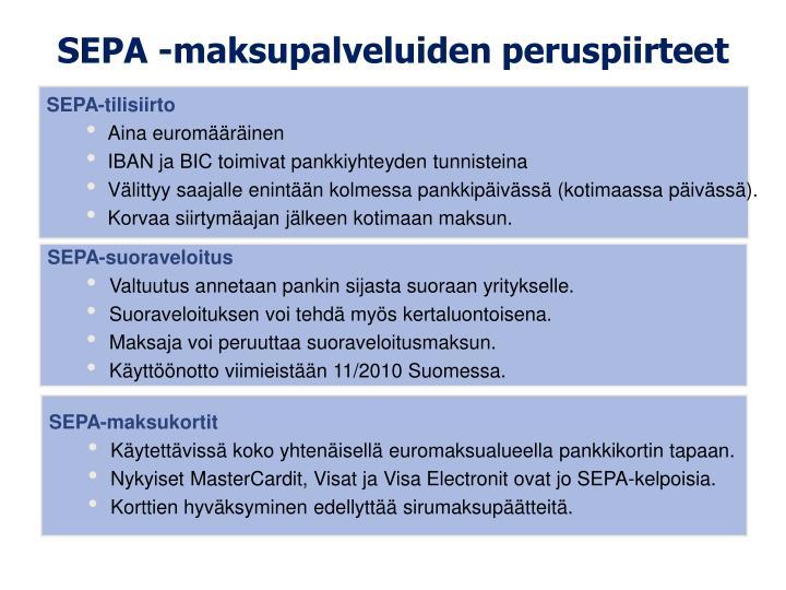 SEPA -maksupalveluiden peruspiirteet