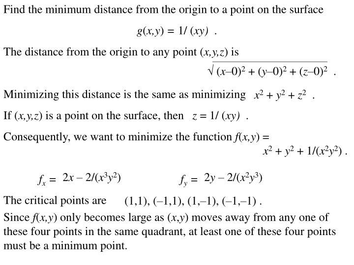 Find the minimum distance from the origin to a point on the surface