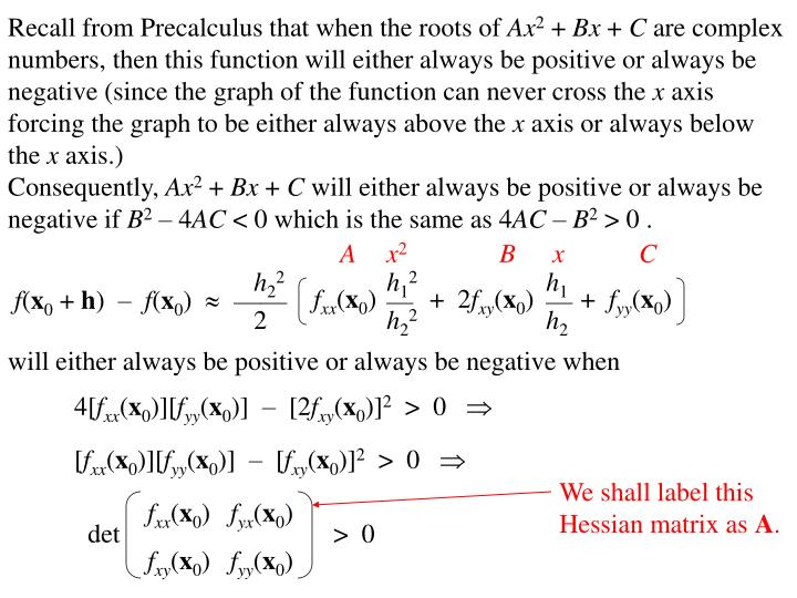 Recall from Precalculus that when the roots of