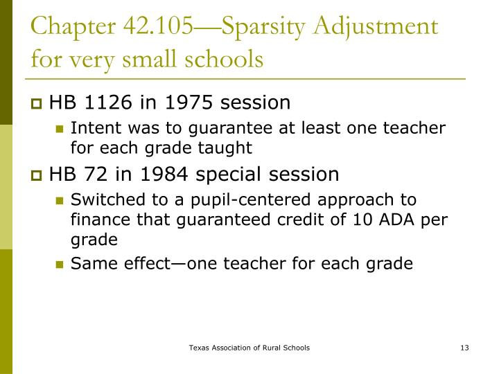 Chapter 42.105—Sparsity Adjustment for very small schools
