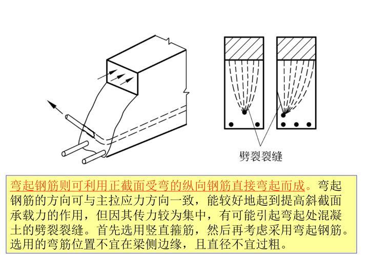 弯起钢筋则可利用正截面受弯的纵向钢筋直接弯起而成