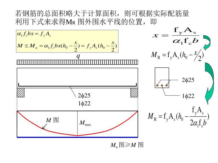 若钢筋的总面积略大于计算面积,则可根据实际配筋量利用下式来求得