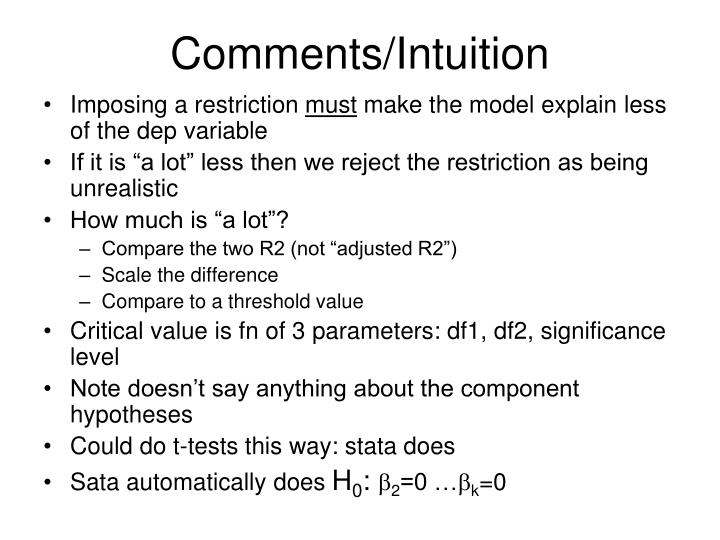 Comments/Intuition