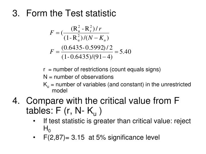Form the Test statistic