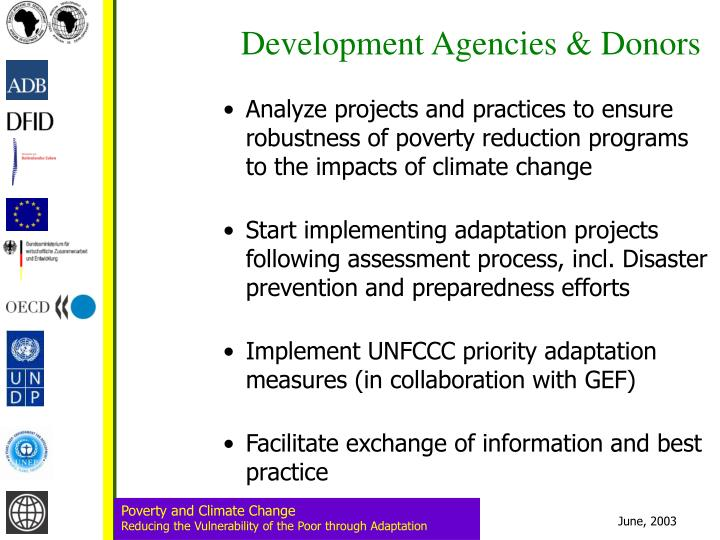 Development Agencies & Donors