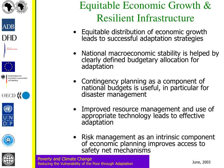 Equitable Economic Growth & Resilient Infrastructure