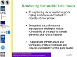 reinforcing sustainable livelihoods