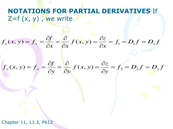 NOTATIONS FOR PARTIAL DERIVATIVES