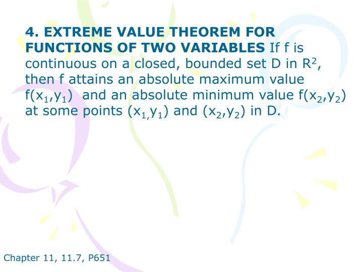 4. EXTREME VALUE THEOREM FOR FUNCTIONS OF TWO VARIABLES