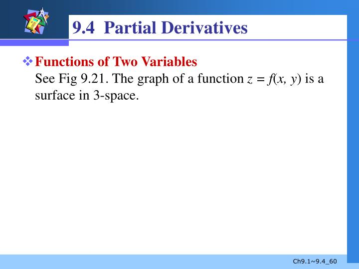 9.4  Partial Derivatives