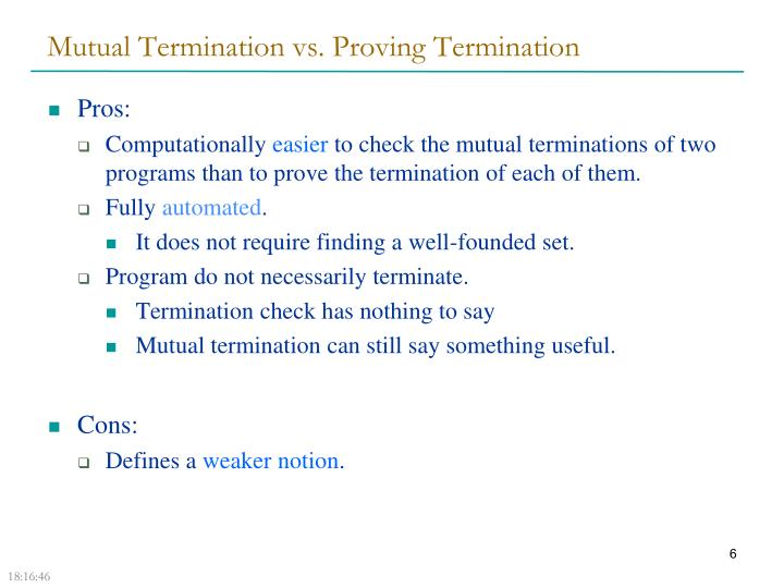 Mutual Termination vs. Proving Termination
