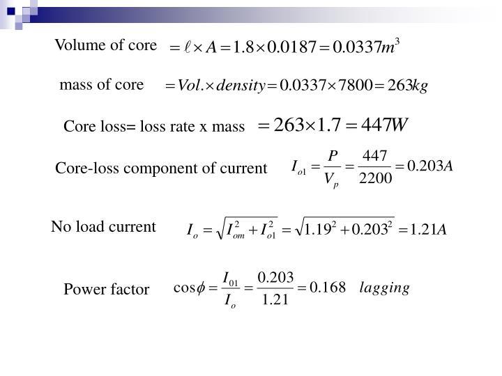 Volume of core