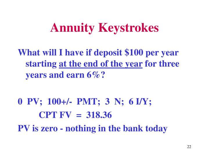 Annuity Keystrokes