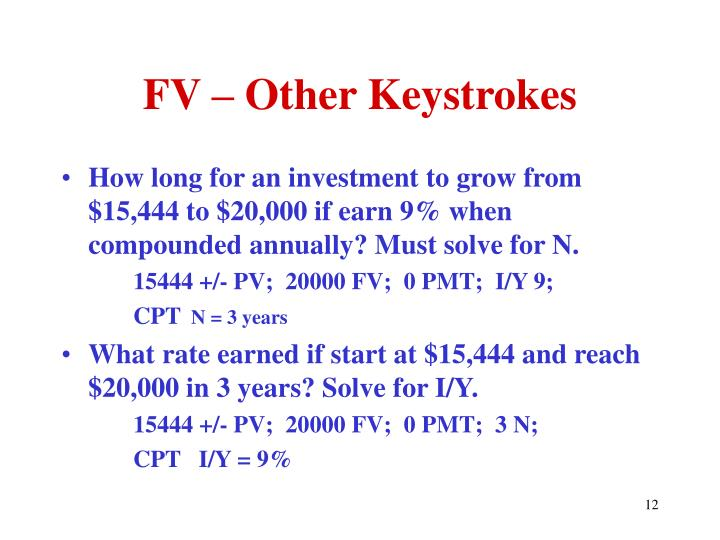 FV – Other Keystrokes