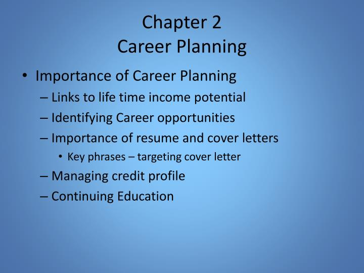 Chapter 2 career planning