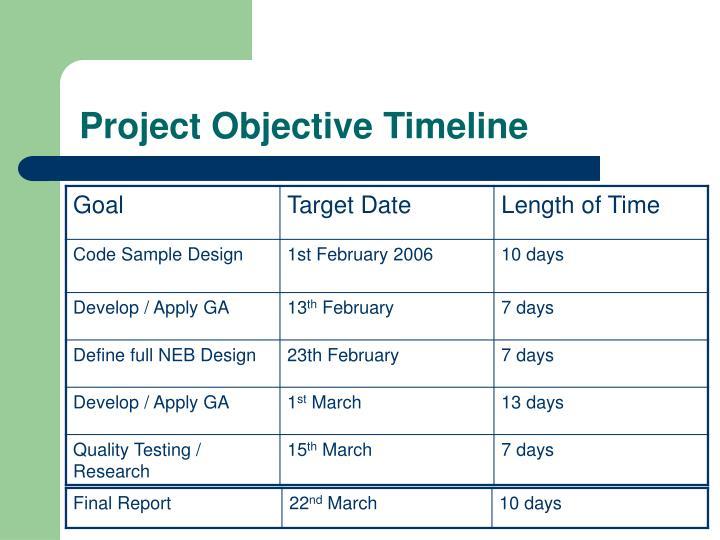 Project Objective Timeline