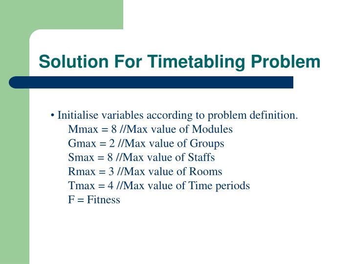 Solution For Timetabling Problem