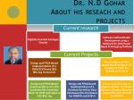 dr n d gohar about his reseach and projects