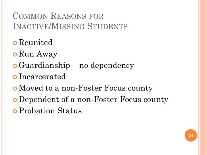 Common Reasons for Inactive/Missing Students