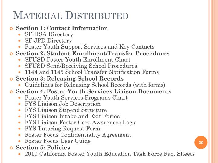 Material Distributed