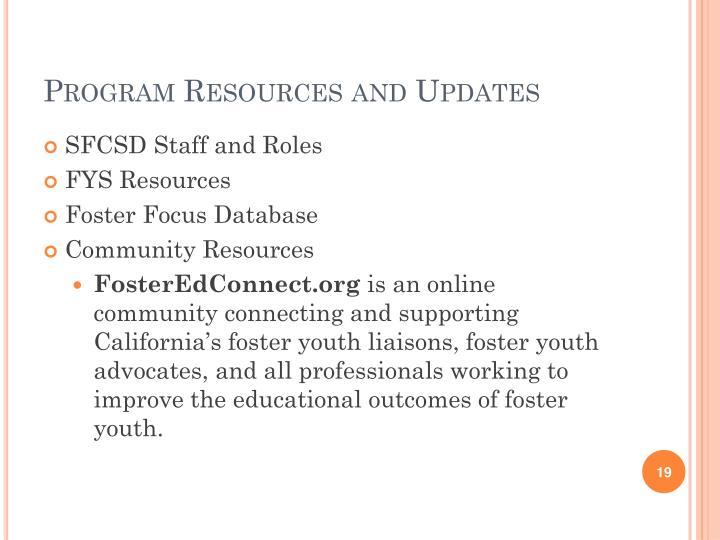 Program Resources and Updates