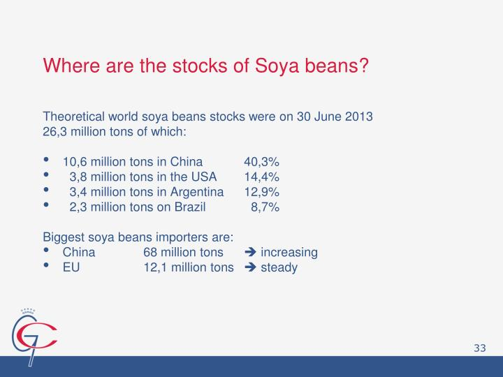 Where are the stocks of Soya beans?
