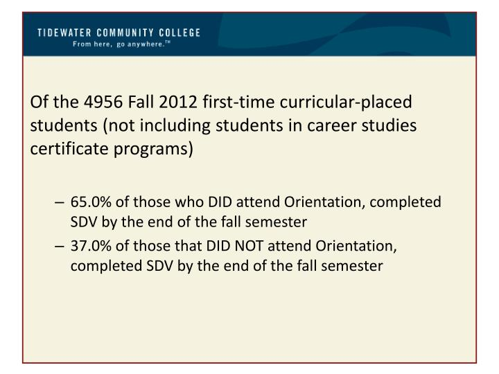 Of the 4956 Fall 2012 first-time curricular-placed students (not including students in career studies certificate programs)