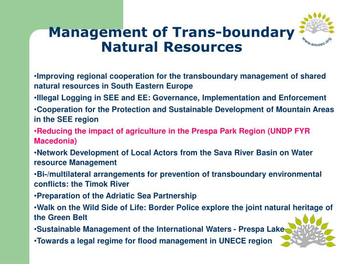 Management of Trans-boundary Natural Resources