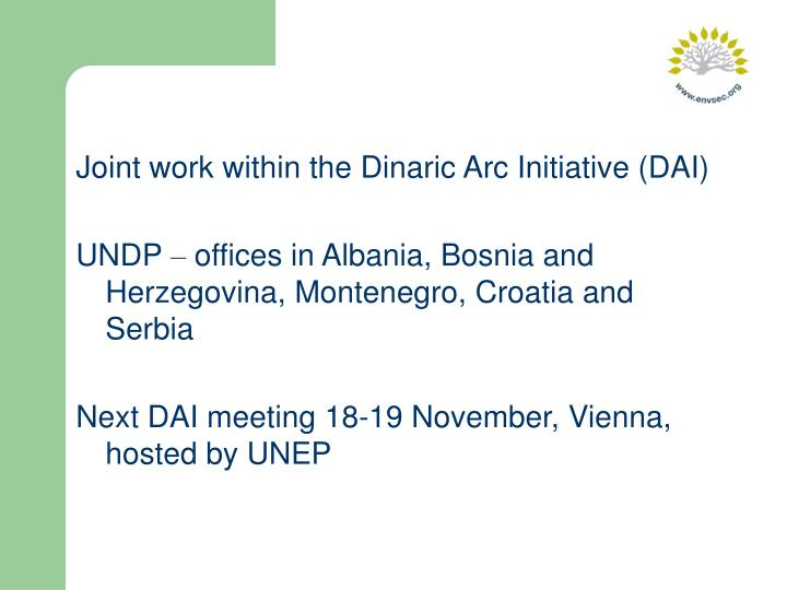 Joint work within the Dinaric Arc Initiative (DAI)