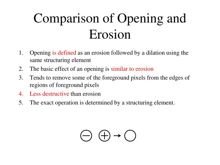 Comparison of Opening and Erosion