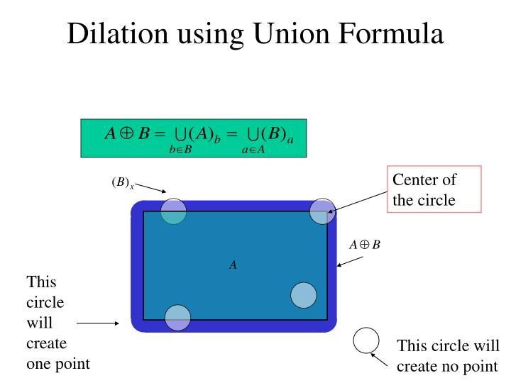 Dilation using Union Formula
