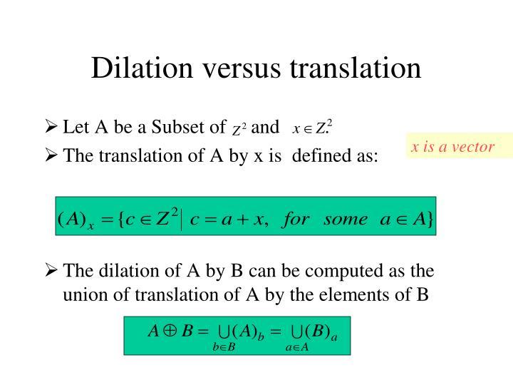 Dilation versus translation