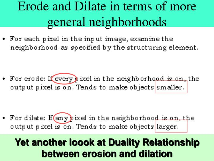 Erode and Dilate in terms of more general neighborhoods