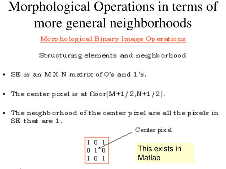 Morphological Operations in terms of more general neighborhoods