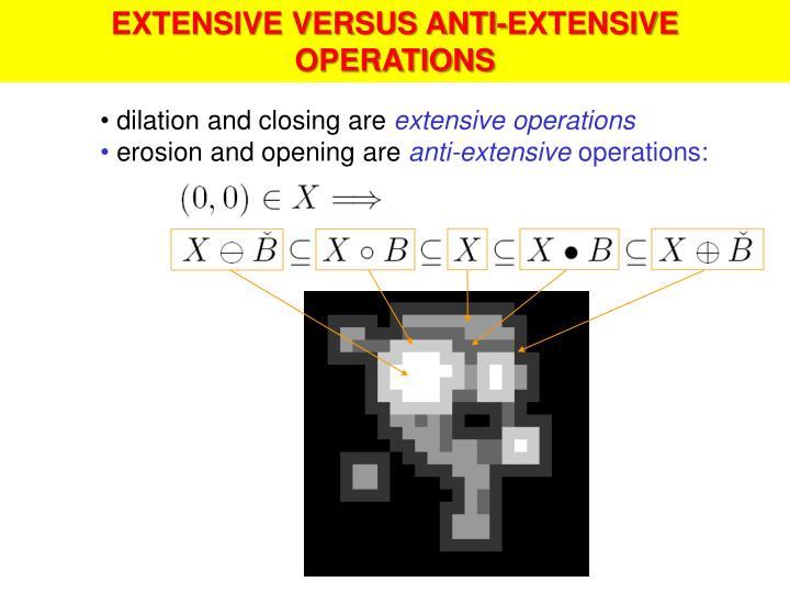 EXTENSIVE VERSUS ANTI-EXTENSIVE OPERATIONS