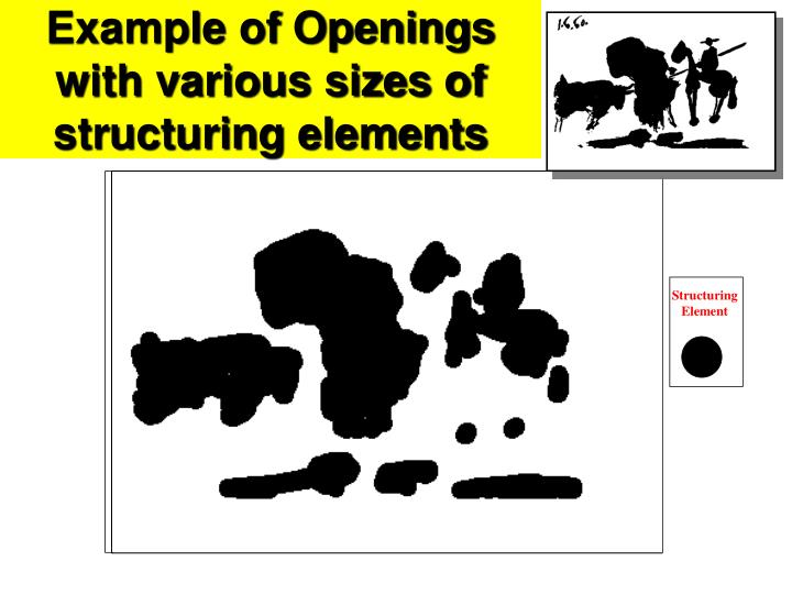Example of Openings with various sizes of structuring elements