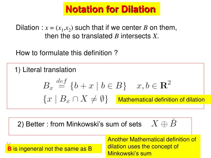 Notation for Dilation