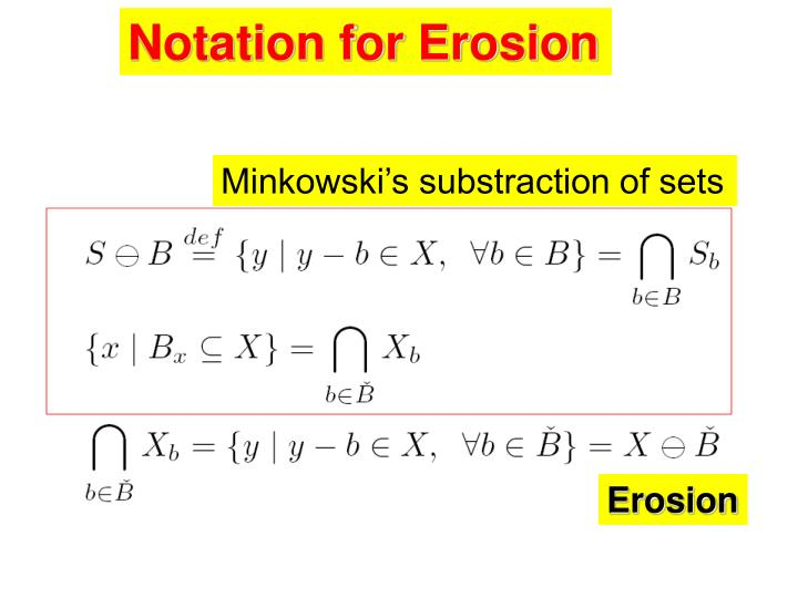 Notation for Erosion