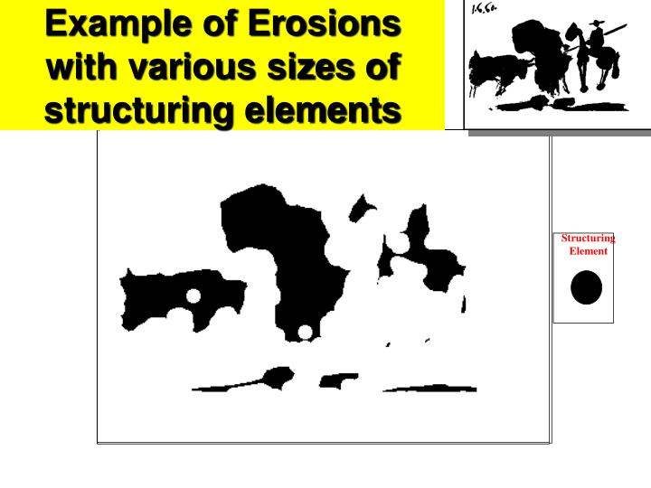 Example of Erosions with various sizes of structuring elements