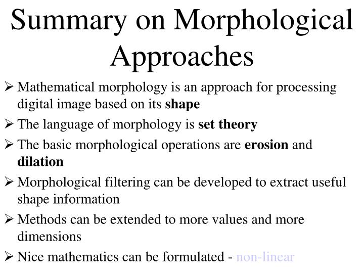 Summary on Morphological Approaches