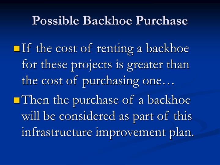 Possible Backhoe Purchase