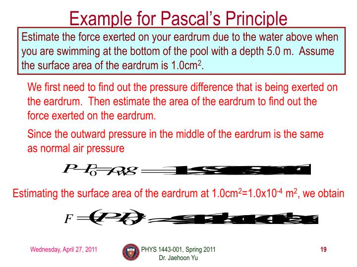 Example for Pascal's Principle