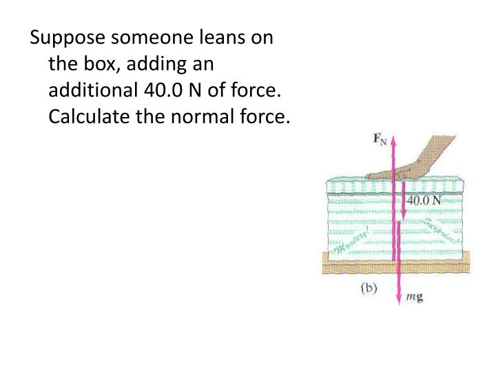 Suppose someone leans on the box, adding an additional 40.0 N of force.  Calculate the normal force.