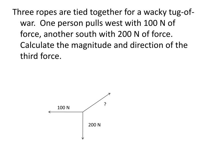Three ropes are tied together for a wacky tug-of-war.  One person pulls west with 100 N of force, another south with 200 N of force.  Calculate the magnitude and direction of the third force.