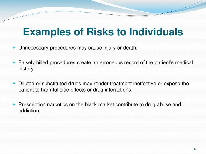 Examples of Risks to Individuals